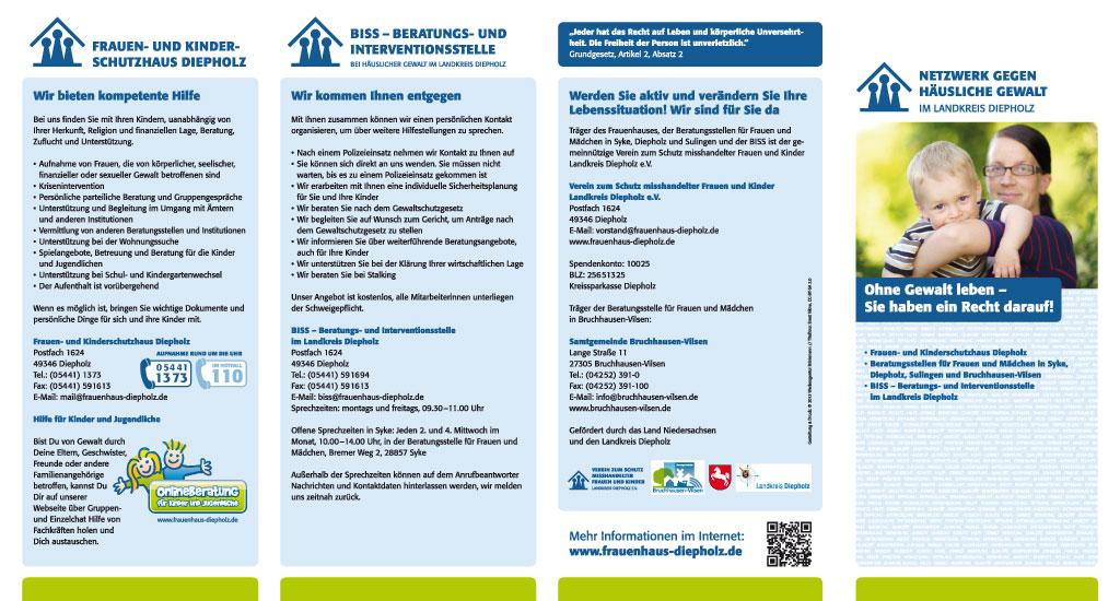 Falzflyer des Netzwerkes gegen Häusliche Gewalt im Landkreis Diepholz, Außenseiten