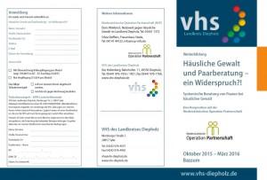 Die Volkshochschule (VHS) des Landkreises Diepholz bietet in Zusammenarbeit mit dem Verein Niedersächsische Operation Partnerschaft (NOP) eine Weiterbildung an zum Thema Häusliche Gewalt und Paarberatung.
