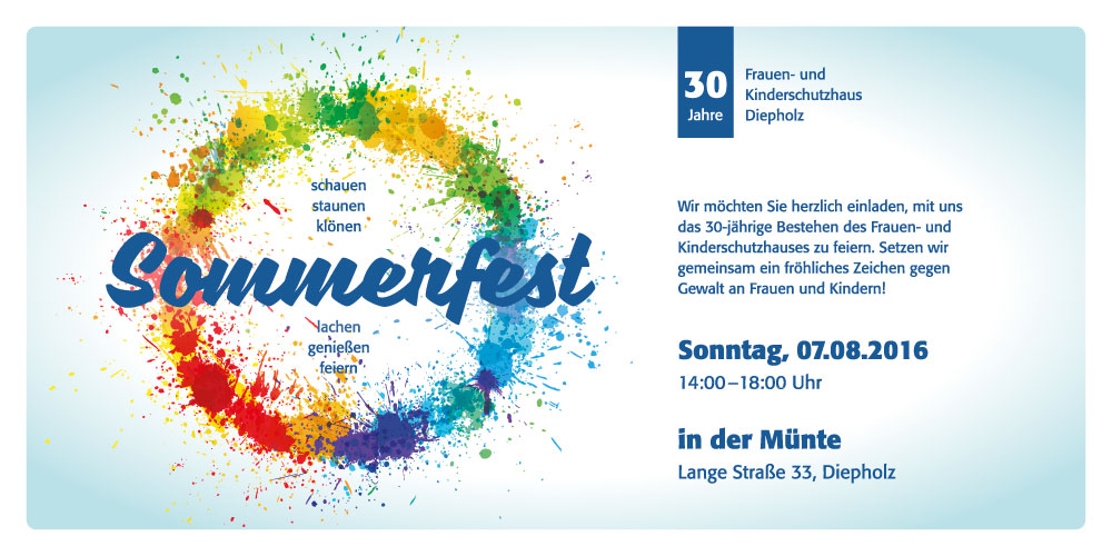 30 jahre frauen- und kinderschutzhaus diepholz - sommerfest am, Einladung